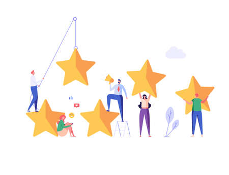 Customer Feedback. People with Five Stars Giving Feedback and Opinion. Clients Choosing Satisfaction Rating. Concept of Client Feedback, Online Survey, Customer Review. Vector illustration for Web Design