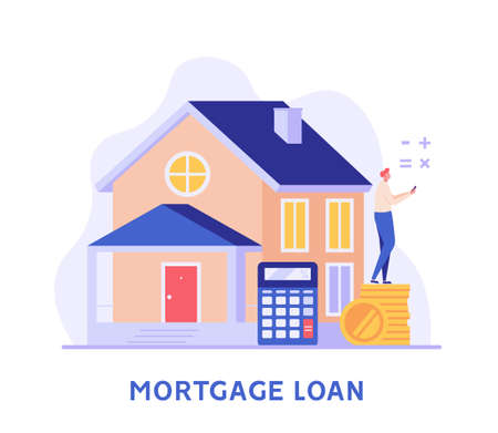 Mortgage Loan. Man Calculating Mortgage Rates and Buying House with Loan. Concept of Mortgage Payment, Real Estate Property, Home for Sale. Vector illustration for Web Design Ilustração