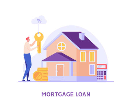 Mortgage Loan. Man Buying House with Bank Credit and Holding Key in Hands. Concept of Mortgage Payment, Real Estate Property, Home for Sale. Vector illustration for Web Design