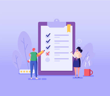 Customer Review. People Standing with Pencil Choosing Answer or Giving Feedback and Opinion in Survey Form. Concept of Client Feedback, Quality Test, Checklist. Vector illustration for Web Design