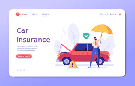 Car Insurance Vector illustration. Man with Umbrella Standing beside Broken Car with Car Insurance. Concept of Car Insurance Services, Protection Property, Road Accident for Web Design, UI, Banners
