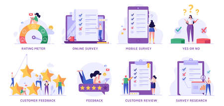 Survey Vector Illustration Set. People Giving Feedback, Choosing Answer, Making Decision and Research. Collection of Online Survey, Customer Review, Voting, Checklist, Client Feedback for Web Design