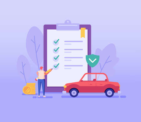 Car Insurance Vector illustration. Man Buying Car Insurance and Signing Form with Red Auto. Concept of Car Insurance Services, Protection Property, Road Accident for Web Design, UI, Banners Ilustração