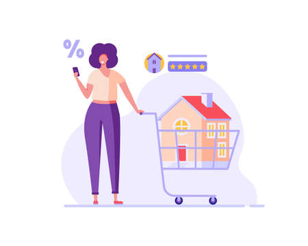 House for Sale. Family Buying Home with Key and Shopping Cart. People Choosing House Online. Concept of Purchase Real Estate, Buy House, Mortage. Vector illustration for Web Design, Landing Page Ilustração