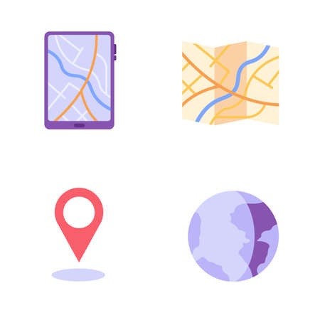 Tablet with map application, geotag, planet, route. Concept of geolocation, geotagging, gps navigation, online map, gps pin, correct way. Vector illustration in flat design for mobile app, web banner Ilustração
