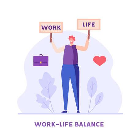 Work Life Balance Concept. Man Choosing between Career or Family on the Sale. Choose between Business and Relationship, Money or Love. Equality Concept. Vector illustration for Web Design Ilustração