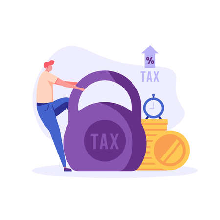 Sad businessman pulls heavy taxes with weight. Huge weight of tax. Concept of heavy tax, debt, duty, defaulter. Vector illustration in flat design for UI, web banner, mobile app