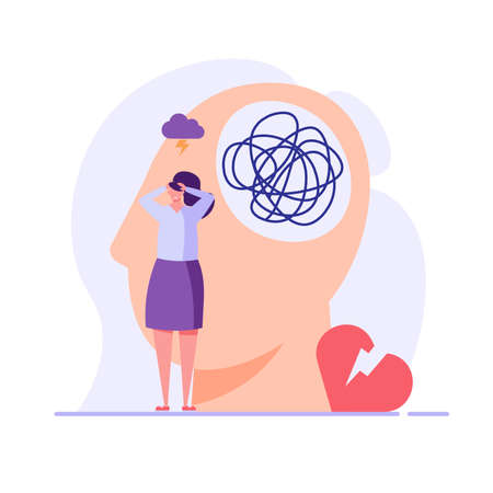 Sad woman in depression. Concept of Mental health problem and issues, psychology therapy, brain care. Vector illustration in flat cartoon design Ilustração
