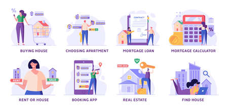 Man Buying House with Key, People Renting Apartment with Online Service, Woman Calculating Mortgage Rates. Concept of Mortgage Loan, Real Estate, Home for Sale. Vector illustration set