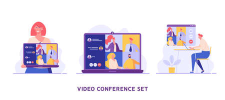 Man communicating via online video conference. Online meeting. Concept of work from home, chatting with friends, group video chat. Vector illustration in flat design for UI, banner, mobile app Ilustração
