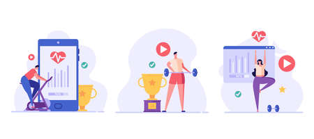 Man on a stationary bike, athlete with a barbell, woman doing yoga. Concept of online fitness, online gym, workout at home, video exercise, smart sports equipment. Vector illustration in flat design