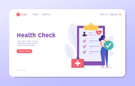 Health Check Up Concept Web Banner. Medical Doctor Examining or Checking Patient. Concept of Healthcare, Health Insurance, Medical Report. Vector illustration for Web Design