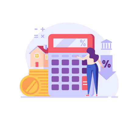 Mortgage Calculator Vector Illustration. Woman Counting Mortgage Percents for Low Rates. Interest Rates Dropping. Client Decrease Percent. Concept of Credit Score, Buy House, Mortgage Loan Ilustração