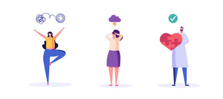 Doctor helping patient with mental health treatment, sad woman in depression, woman enjoys ife. Concept of mental health, psychology therapy, brain care. Vector illustration in flat cartoon design