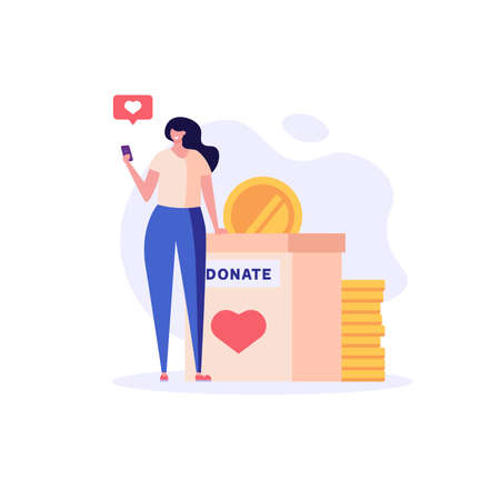 Woman standing with coin and donating money. Crowdfunding. Concept of donation, volunteering, donation box, charity.