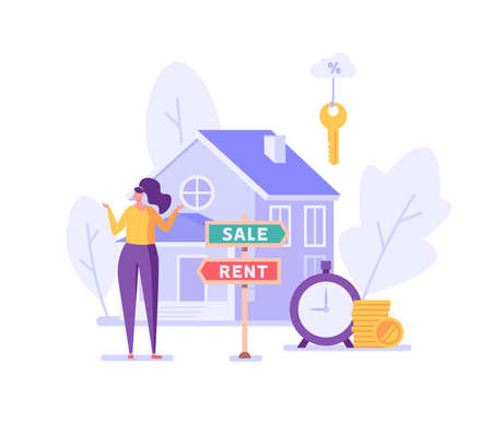 Sale or Rent. People Renting Apartment with Online Service. Users Looking for Apartment for Rent Online. Concept of Rent Real Estate, Home for Rent. Vector illustration for Web Design, Landing Page Ilustração