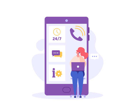 Consultant with headsets helps customers. Customer support. Concept of hotline worker, online assistant, telemarketer, customer attraction. Ilustração