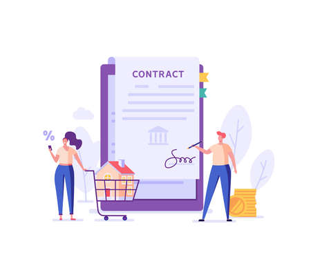 Mortgage Contract. Family Buying Home and Signing Loan Agreement. Mortgage Application Form. Concept of Purchase Real Estate, Buy House. Vector illustration for Web Design, Landing Page Ilustração