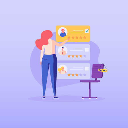 HR manager choosing cv portfolio of new employees. Headhunting agency. Concept of recruitment service, employees hiring, search for job candidates. Vector illustration for web and mobile app Ilustração
