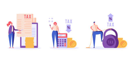 Successful people pay and count taxes. Tax time. Set of tax management, optimization, duty, financial accounting. Vector illustration in flat design for UI, banner, mobile app Ilustração