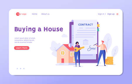 Mortgage Contract. Man Buying Home and Signing Loan Agreement. Mortgage Application Form. Concept of Purchase Real Estate, Buy House. Vector illustration for Web Design, Landing Page