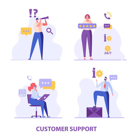 Consultant with headsets helps customers. Customer support. Concept of hotline worker, online assistant, telemarketer, customer attraction. Vector illustration in flat for UI, web banner, mobile app