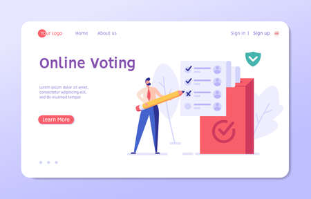 Election Campaign. People Voting with Vote Box and Calling for Vote. Concept of Election Day, Making Choice, Balloting Paper, Democracy. Vector illustration for Web Design and Background