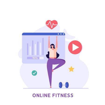 Woman doing yoga at home in mobile app. Concept of online fitness, online gym, workout at home, video exercise, smart sports equipment. Vector illustration in flat design for ui, web banner Ilustração