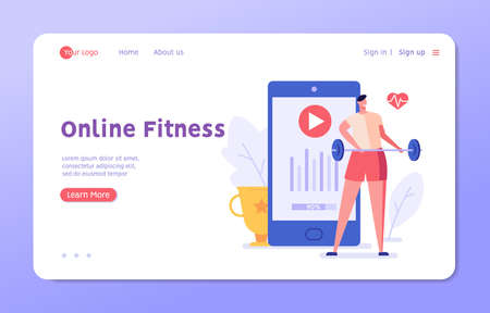 A man stands with barbell and goes in for sports using a mobile app. Concept of online fitness, online gym, workout at home, video exercise, smart sports equipment. Vector illustration in flat design Ilustração