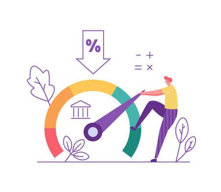 Credit Score. Man Increasing Credit Rating for Low Rates. Interest Rates Dropping. Client Decrease Percent. Concept of Credit Report, Banking Service, Mortgage Loan. Vector illustration for Web Design Ilustração