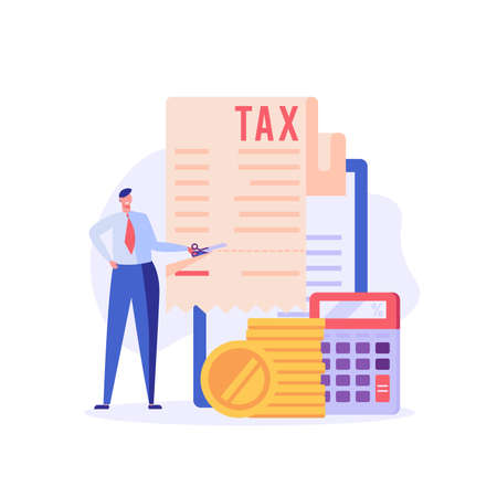 Successful businessman cuts heavy taxes with scissors. Tax deduction. Concept of tax return, optimization, duty, financial accounting. Vector illustration in flat design for UI, banner, mobile app Ilustração
