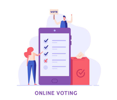Online Voting and Election Campaign. People Voting with Vote Box and Calling for Vote. Concept of Election Day, Making Choice, Balloting Paper, Democracy. Vector illustration for Background