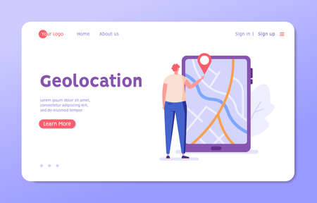 Man looking for the correct route in the app. Concept of geolocation, gps navigation, online map, gps pin, correct way. Vector illustration in flat design for mobile app, ui, web banner