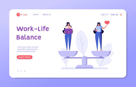 Work Life Balance Concept. Women Choosing between Career or Family on the Sale. Choose between Business and Relationship, Money or Love. Equality Concept. Vector illustration for Web Design
