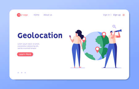 Man and a woman are looking for a route, put geotags, use a mobile app with geolocation. Concept of geotagging, gps navigation, online map, gps pin, correct way. Vector illustration in flat design Ilustração