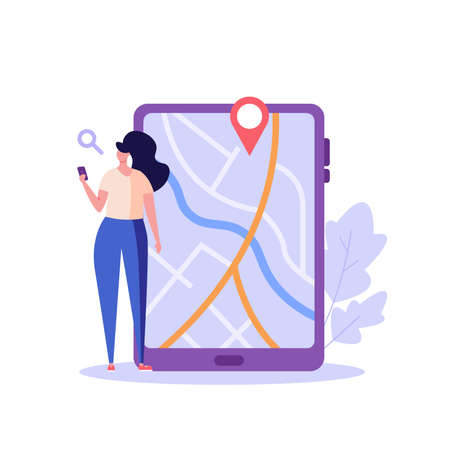 Woman geotagging and looking for the correct route in the app. Concept of geolocation, gps navigation, online map, gps pin, correct way. Vector illustration in flat design for mobile app, web banner