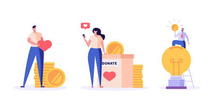 People standing with coin and donating money. Crowdfunding. Concept of donation, volunteering, donation box, charity. Vector illustration in flat design for book, banner, card