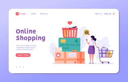 Woman buys goods in an online store. Concept of online shopping, big choice, internet trade, product rating, market place, customer reviews, shopping from home. Vector illustration in flat design Ilustração