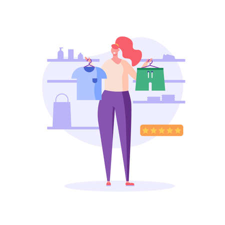 Woman stands with a T-shirt and shorts, makes choice. Concept of online shopping, big choice, clothing store, internet trade, clothing business, fashion. Vector illustration in flat design