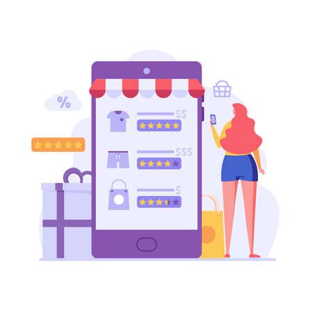 Woman standing with phone and looking for a product in an online store. Concept of online shopping, big choice, internet trade, product rating, market place. Vector illustration in flat design Ilustração