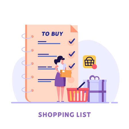 People adds products to the wish list in the online store. Concept of online shopping, big choice, internet trade, product rating, market place, customer reviews. Vector illustration in flat design