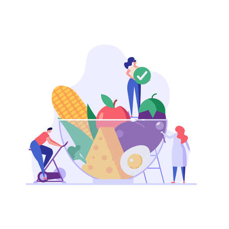 Diet plan illustration. People exercising and doing fitness. Doctor planning diet with vegetable. Concept of dietary eating, meal planning, nutrition consultation. Vector illustration for web design Ilustração