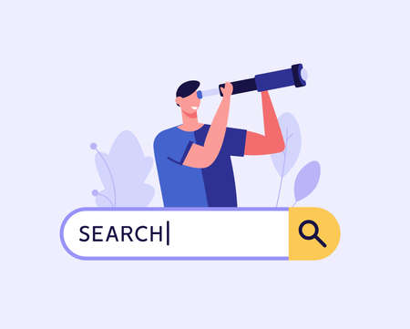 People searching information in internet. Man looking in spyglass or telescope with search bar. Web search in internet, online surfing, SEO. Trendy vector illustration in flat design for web banners