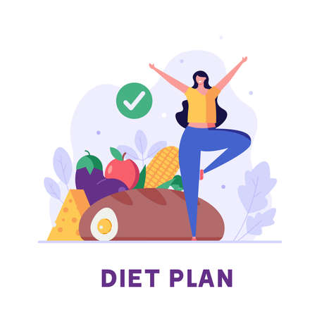 Diet plan illustration. People exercising and doing fitness. Woman planning diet with vegetable. Concept of dietary eating, meal planning, nutrition consultation. Vector illustration for web design Ilustração