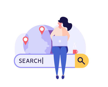 People searching information in internet. Woman browsing online with search bar. Web search in internet, online surfing, SEO. Trendy vector illustration in flat design for web banners
