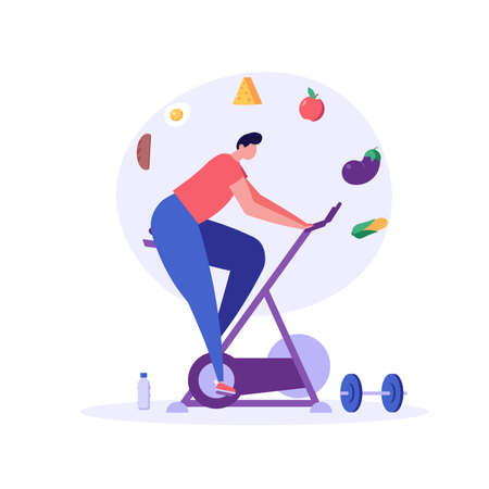 Diet plan illustration. People exercising and doing fitness. Man planning diet with vegetable. Concept of dietary eating, meal planning, nutrition consultation. Vector illustration for web design Ilustração