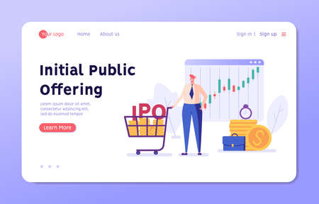 Investor invests in new share and IPO. Concept of initial public offering, return on investment, financial solutions, passive income. Vector illustration in flat design for web banner, landing page