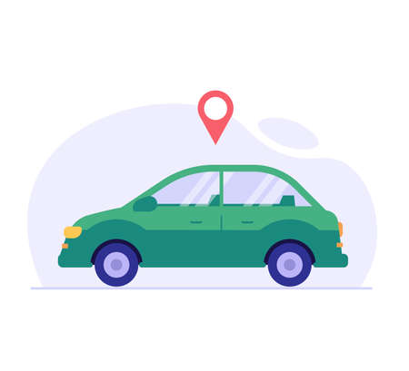 Geolocated car. Concept of car rental, car sharing, driver services, taxi, sober driver, smart car, technology, check, geolocation. Vector illustration in flat design