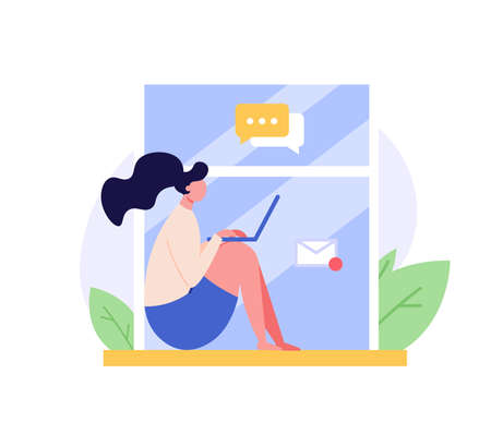 Freelance Concept. Freelancer woman working at home and earning money remotely. Global outsourcing, remote working and home office. Work chat. Vector illustration for web design