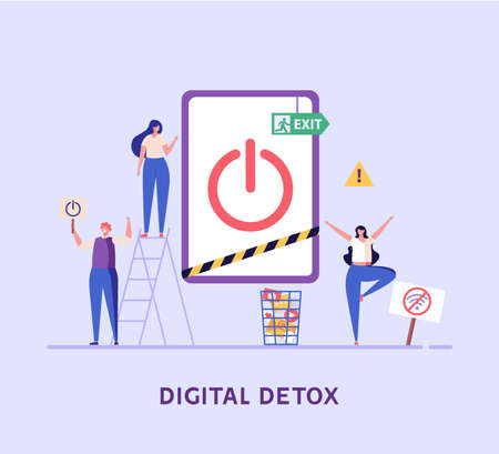People meditate, clean, step out, relax, read books. Concept of digital detox, disconnecting, abandoning internet, device free zone, internet addiction, no mobile. Vector illustration in flat design. Vektorové ilustrace